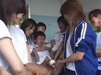 女子校生の集団に全裸に剥かれて、手コキ強制射精で精子採取される! ジャージ&体操着 in ハイスクール!