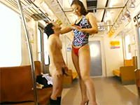 筋肉質177センチの巨大痴女っ! 高下えりかが電車でチビ男をベロベロ!